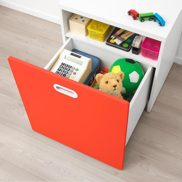 STUVA / FRITIDS Contenitore giocattoli con rotelle, bianco/rosso, 60x50x64 cm