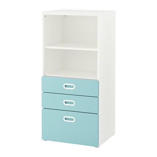 stuva fritids libreria con cassetti bianco azzurro ikea. Black Bedroom Furniture Sets. Home Design Ideas