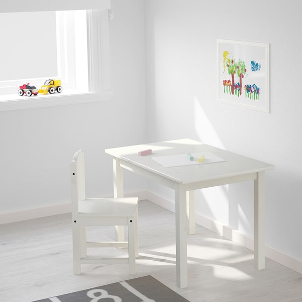 SUNDVIK Tavolo per bambini, bianco, 76x50 cm