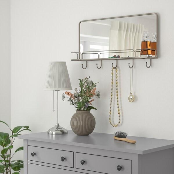 Synnerby Specchio Con Mensola E Ganci Grigio 71x38 Cm Ikea Svizzera
