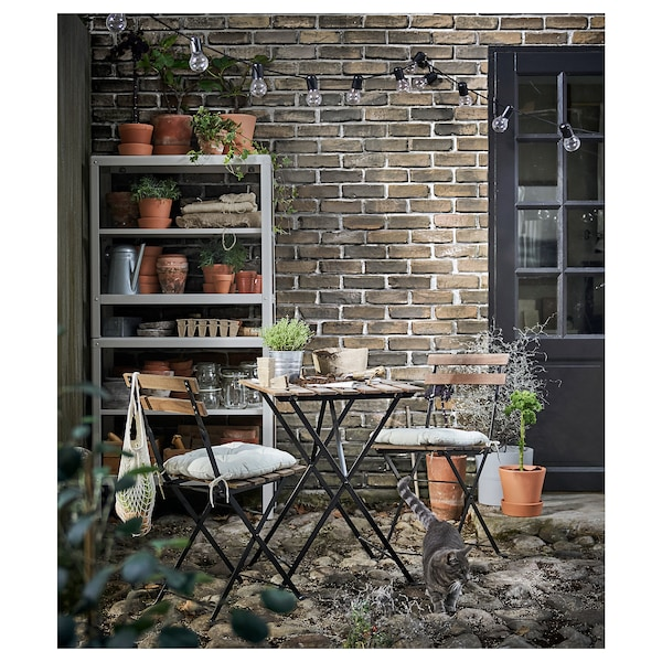 TÄRNÖ Tavolo da giardino, nero/mordente marrone chiaro, 55x54 cm