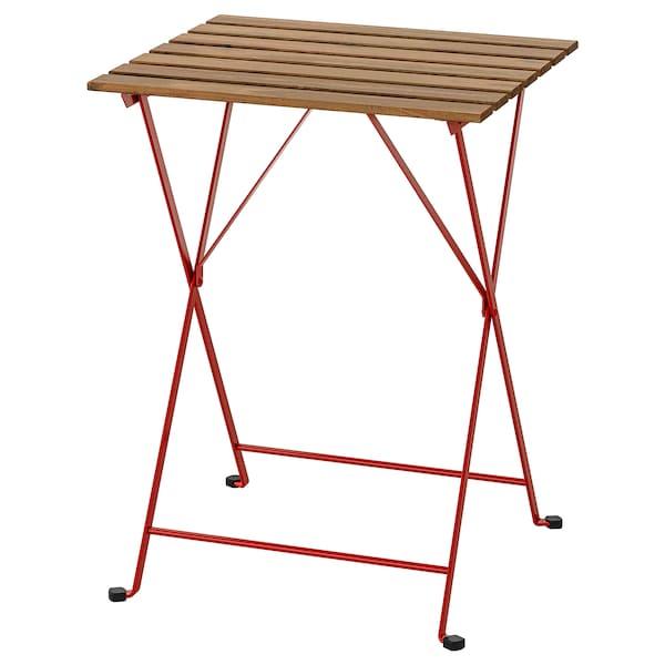 TÄRNÖ Tavolo da giardino, rosso/mordente marrone chiaro, 55x54 cm