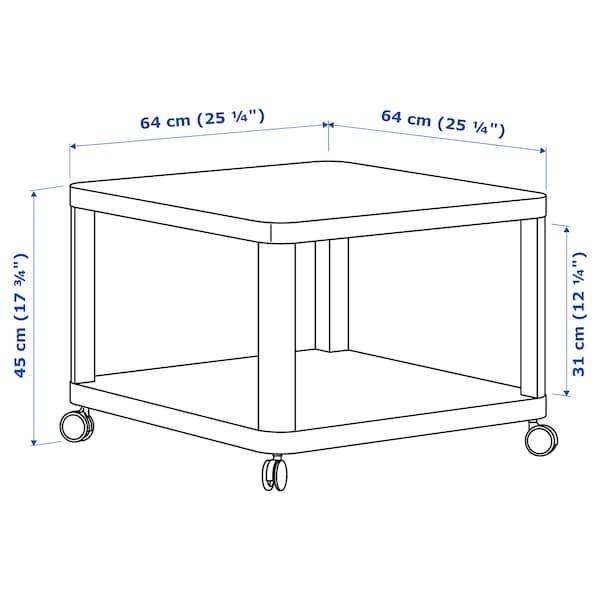 TINGBY Tavolino con rotelle, bianco, 64x64 cm
