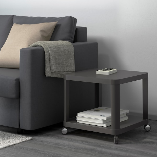 TINGBY Tavolino con rotelle, grigio, 50x50 cm