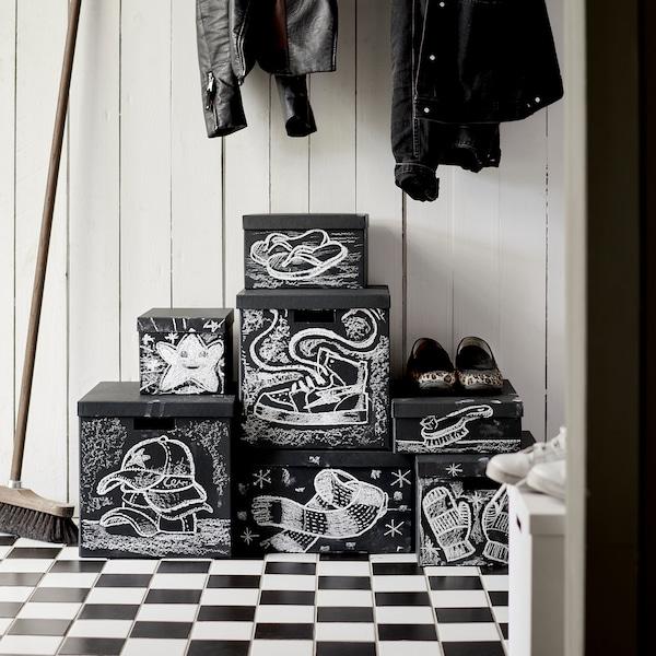 TJENA Scatola con coperchio, nero, 25x35x10 cm