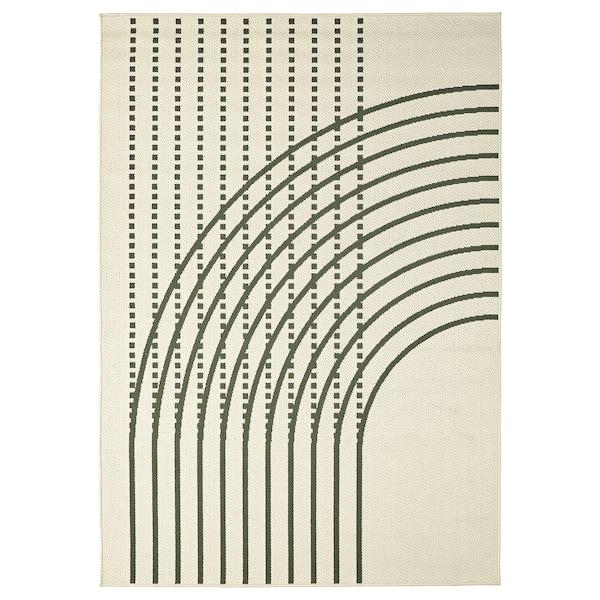 TÖMMERBY Tappeto tessitura piatta int/est, verde scuro/bianco sporco, 160x230 cm