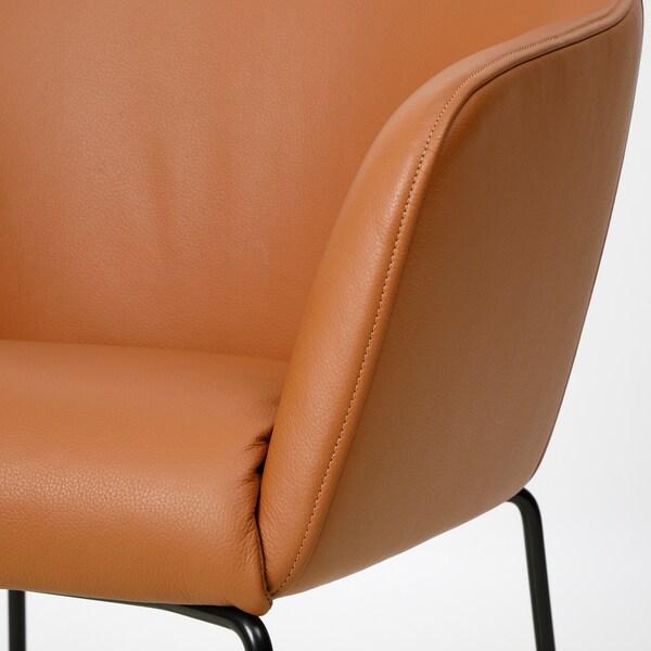TOSSBERG Sedia, metallo nero/Grann marrone chiaro