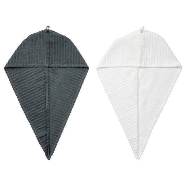 TRÄTTEN asciugamano per capelli grigio scuro/bianco 720 mm 265 mm 2 pezzi