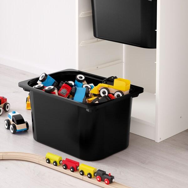 TROFAST Combinazione con contenitori, bianco/nero, 46x30x145 cm