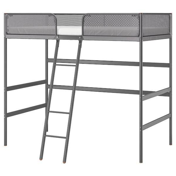 TUFFING Struttura per letto a soppalco, grigio scuro, 90x200 cm