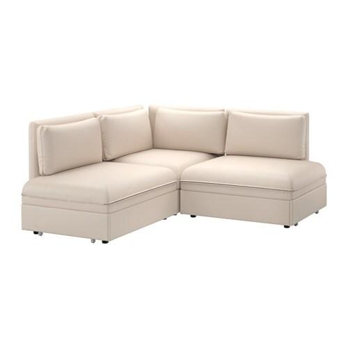 VALLENTUNA Divano angolare a 3 posti con letto - Murum beige - IKEA