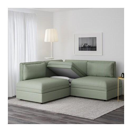 Vallentuna divano angolare a 3 posti con letto hillared - Divano verde ikea ...