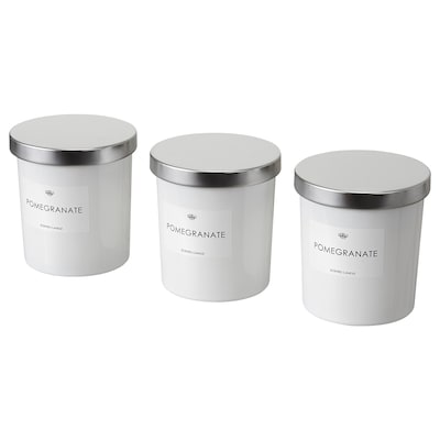 VANSKLIG Candela profumata con vetro, Melograno/bianco