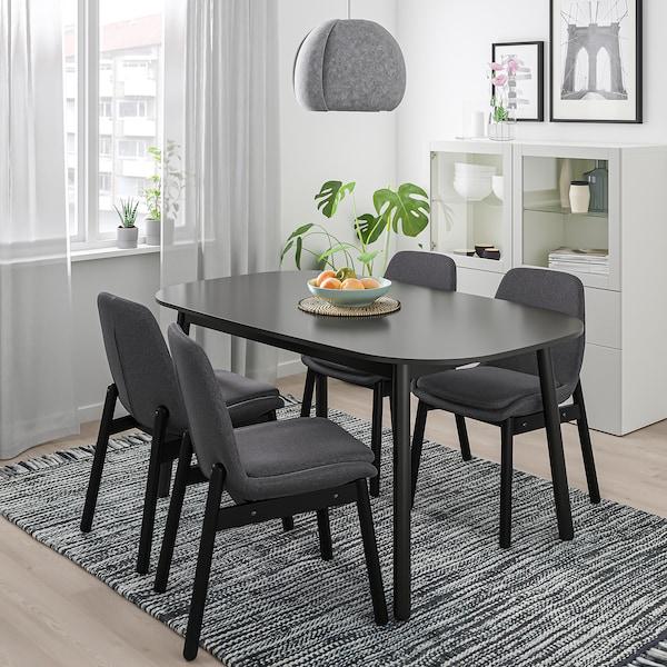 VEDBO sedia nero/Gunnared grigio scuro 110 kg 49 cm 57 cm 83 cm 46 cm 40 cm 47 cm