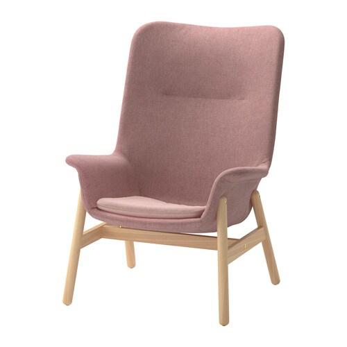 VEDBO - Poltrona con schienale alto, Gunnared marrone chiaro-rosa