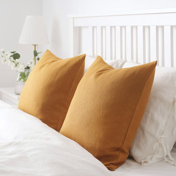 VIGDIS fodera per cuscino ocra bruna scuro 50 cm 50 cm