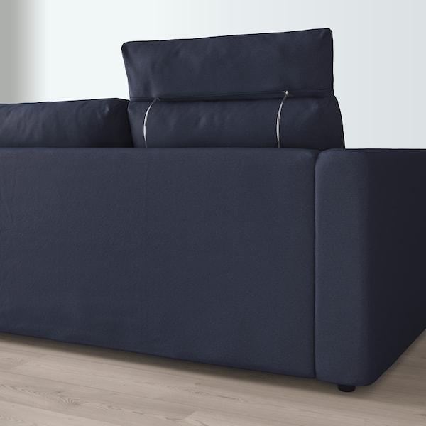 VIMLE Divano a 3 posti, con chaise-longue con poggiatesta/Orrsta blu-nero