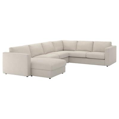 VIMLE Divano angolare a 5 posti, con chaise-longue/Gunnared beige