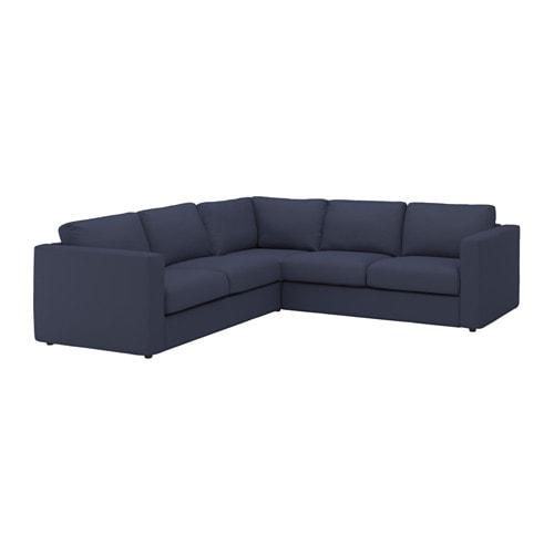 Divano Angolare Ikea Tessuto.Vimle Divano Angolare A 4 Posti Orrsta Blu Nero