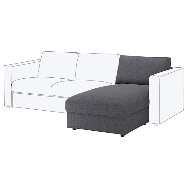 VIMLE Elemento chaise-longue, Gunnared grigio fumo