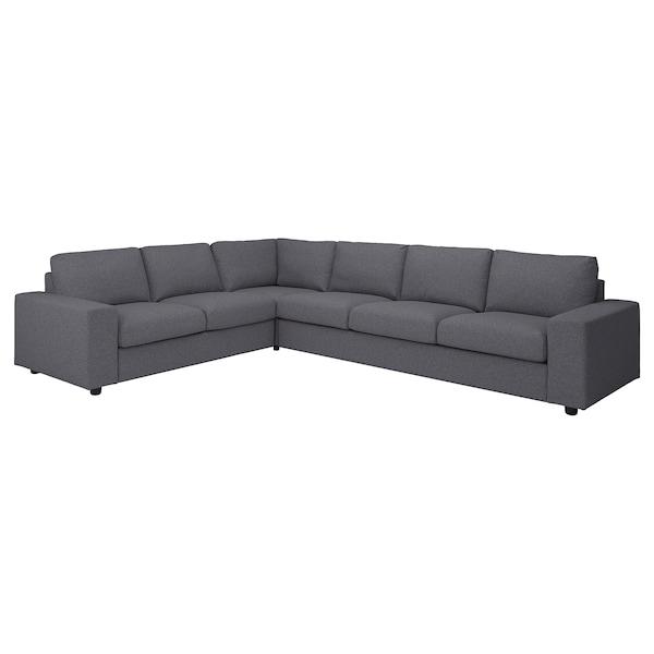 VIMLE Fodera per divano angolare, 5 posti, con braccioli larghi/Gunnared grigio fumo