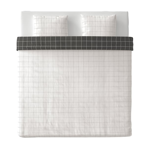 VITKLÖVER Copripiumino e 2 federe, bianco nero/a quadri, 240x220/50x60 cm