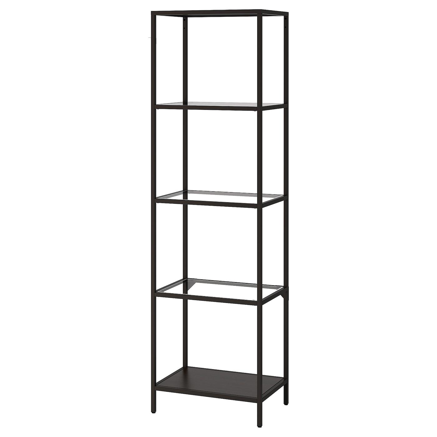 Ikea Scaffalature In Metallo.Vittsjo Scaffale Marrone Nero Vetro