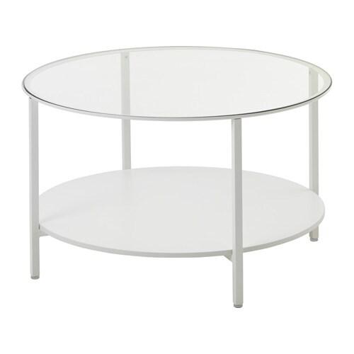 VITTSJÖ Tavolino - bianco/vetro - IKEA