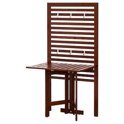 ÄPPLARÖ Nástěnný panel+skládací stůl, venk., hnědé mořidlo, 80x62x158 cm