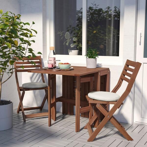 ÄPPLARÖ stůl+2 skládací židle, venk. hnědé mořidlo/Frösön/Duvholmen béžová