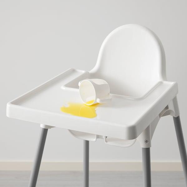 ANTILOP Vysoká židle s podnosem, bílá/stříbrná