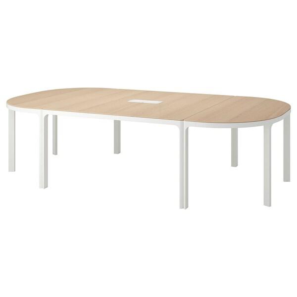 BEKANT konferenční stůl bíle mořená dubová dýha bílá 280 cm 140 cm 73 cm 100 kg