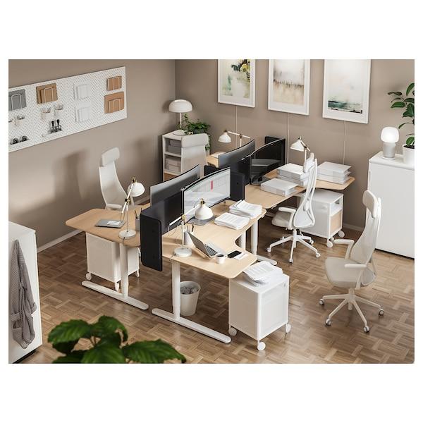 BEKANT Polohovací rohový stůl, pravý, bíle mořená dubová dýha bílá, 160x110 cm