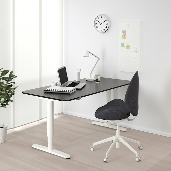 BEKANT Polohovací stůl, černě mořená jasanová dýha/bílá, 160x80 cm