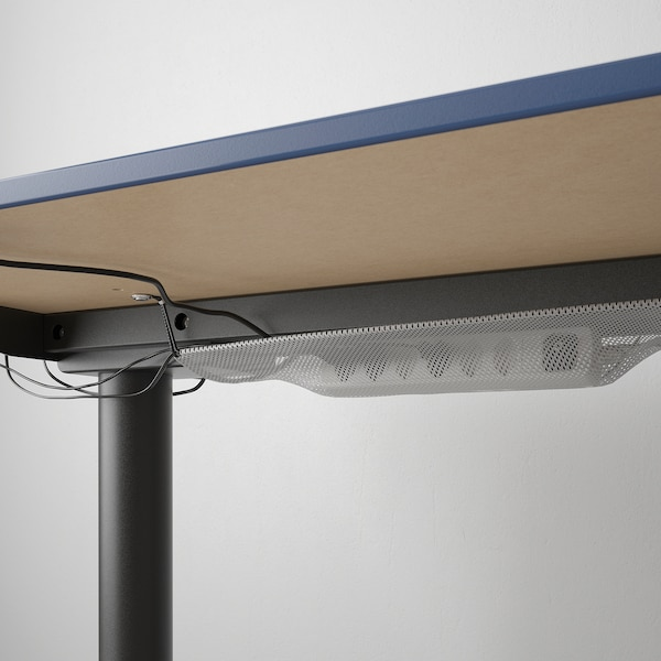 BEKANT Polohovací stůl, linoleum modrá/černá, 160x80 cm