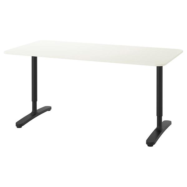 BEKANT Psací stůl, bílá/černá, 160x80 cm