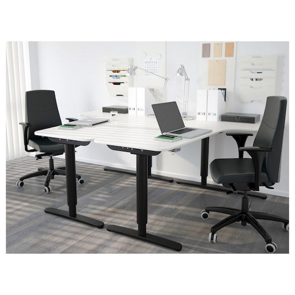 BEKANT Rohová deska stolu levá, bílá, 160x110 cm