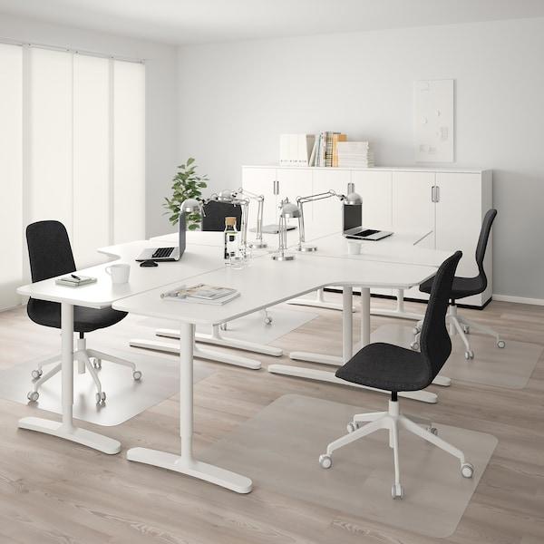 BEKANT Rohový stůl, pravý, bílá, 160x110 cm