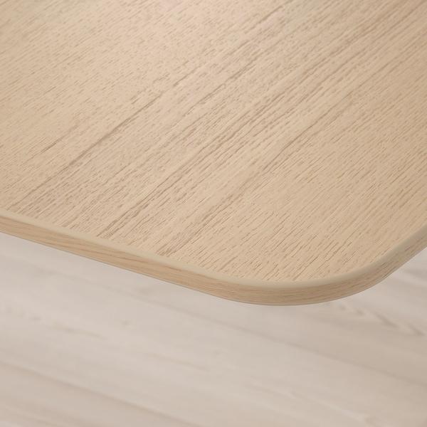 BEKANT Rohový stůl, pravý, bíle mořená dubová dýha/bílá, 160x110 cm
