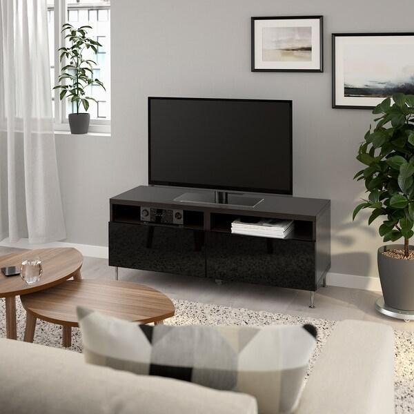 BESTÅ TV stolek se zásuvkami černohnědá/Selsviken/Stallarp lesklá černá 120 cm 42 cm 48 cm 50 kg