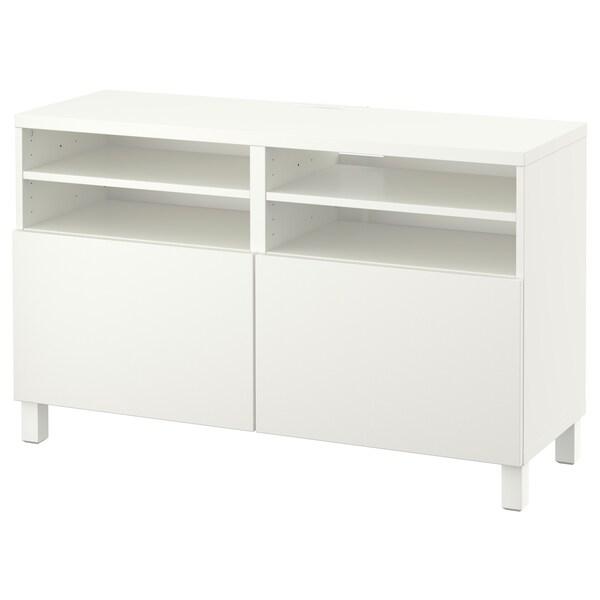 BESTÅ TV stolek s dvířky, bílá/Lappviken/Stubbarp bílá, 120x42x74 cm