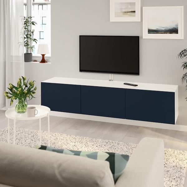 BESTÅ TV stolek s dvířky, bílá/Notviken modrá, 180x42x38 cm