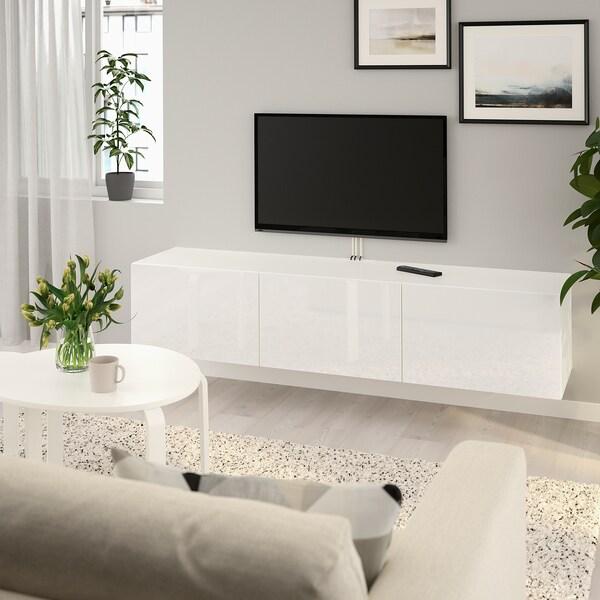 BESTÅ TV stolek s dvířky, bílá/Selsviken lesklá bílá, 180x42x38 cm