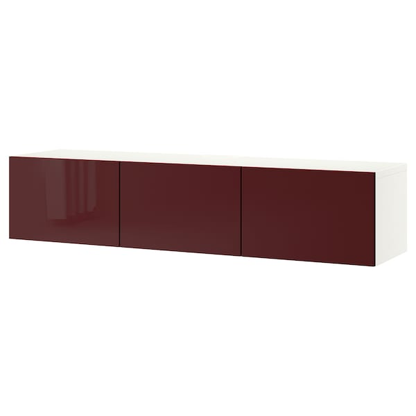 BESTÅ TV stolek s dvířky, bílá Selsviken/lesklá tmavě červeno-hnědá, 180x42x38 cm