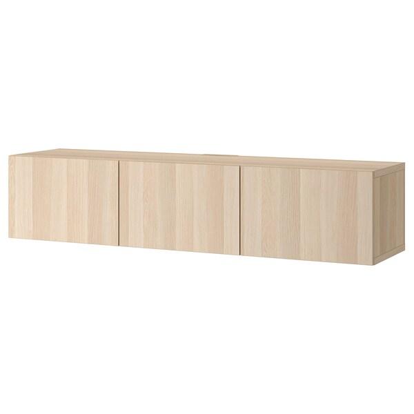 BESTÅ TV stolek s dvířky, vz. bíle moř. dub/Lappviken vz. bíle moř. dub, 180x42x38 cm