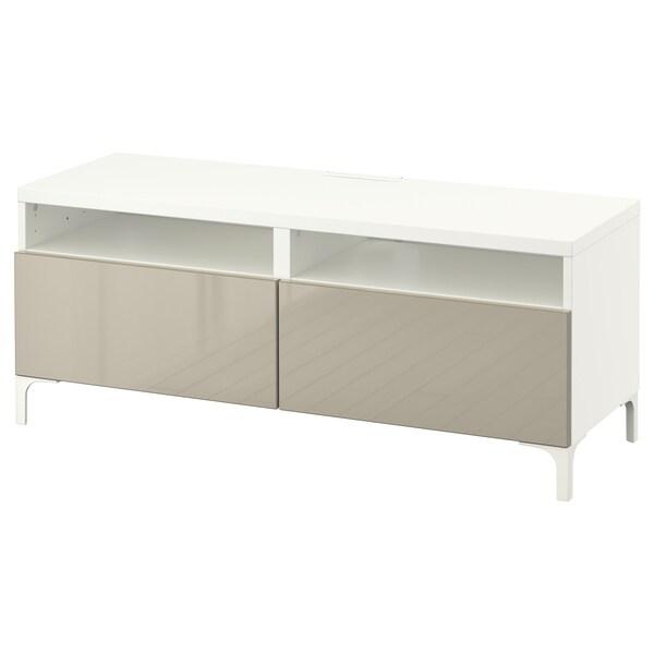 BESTÅ TV stolek se zásuvkami, bílá/Selsviken lesklá béžová, 120x42x48 cm