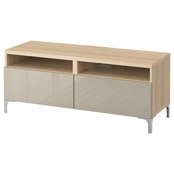 BESTÅ TV stolek se zásuvkami, vz. bíle moř. dub/Selsviken lesklá béžová, 120x42x48 cm