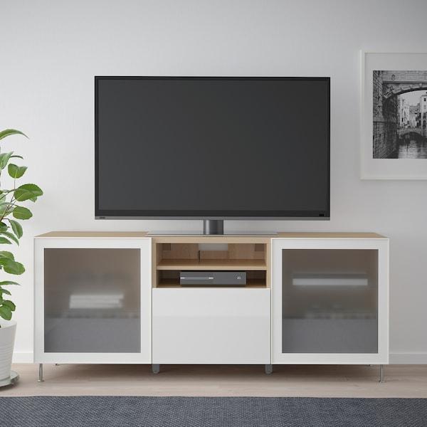 BESTÅ TV stolek se zásuvkami, vz. bíle moř. dub/Selsviken/Stallarp lesklé/bílé mléčné sklo, 180x42x74 cm