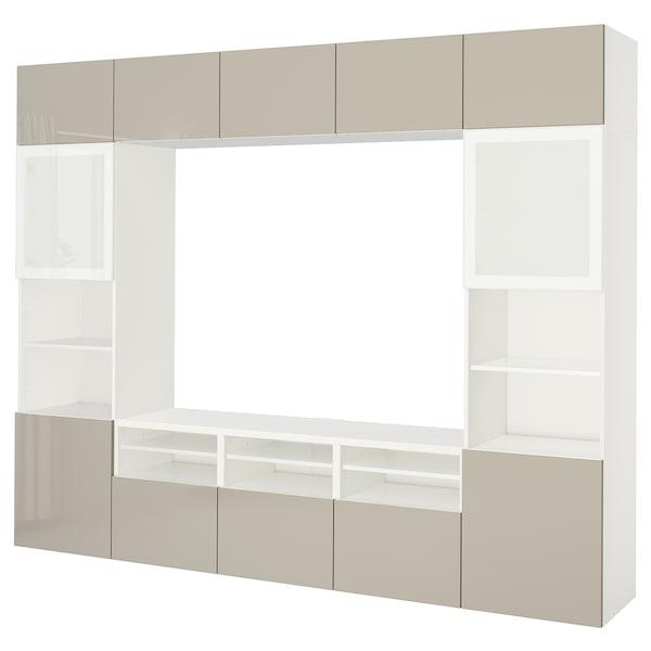 BESTÅ TV úložná sestava se skl. dvířky, bílá/Selsviken lesklé/béžové mléčné sklo, 300x40x230 cm