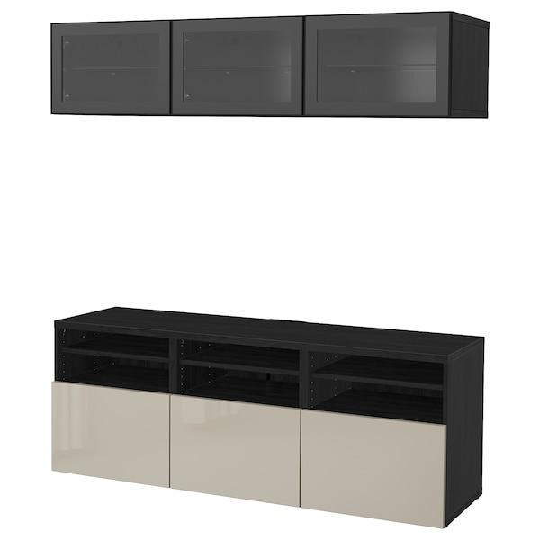 BESTÅ TV úložná sestava se skl. dvířky, černohnědá/Selsviken lesklé/béžové čiré sklo, 180x40x192 cm